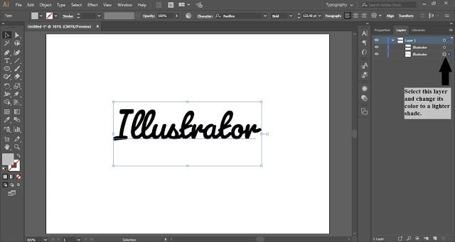 Shadow Effect in Text in Adobe Illustrator