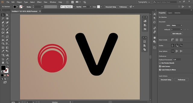 Letter with Random Shape in Adobe Illustrator