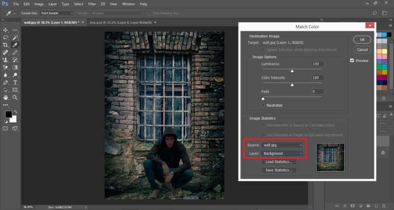 Select Source and Layer in Match Color Dialogue Box