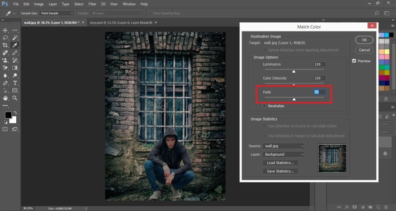 Set the Fade Slider in Match Color