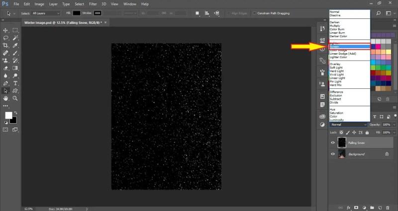Select Screen Blending Mode