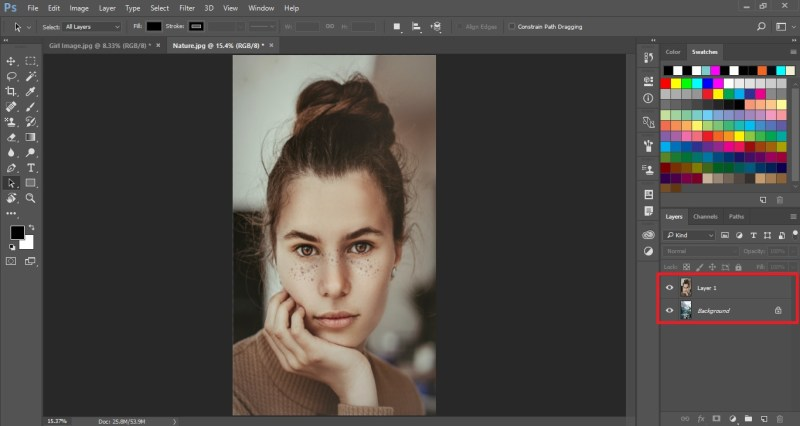 Move image to another document for blending