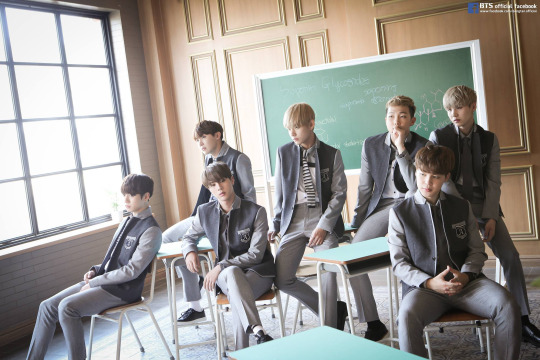 Despite (or because of?) their rebel image, BTS models for Smart, a school uniform company