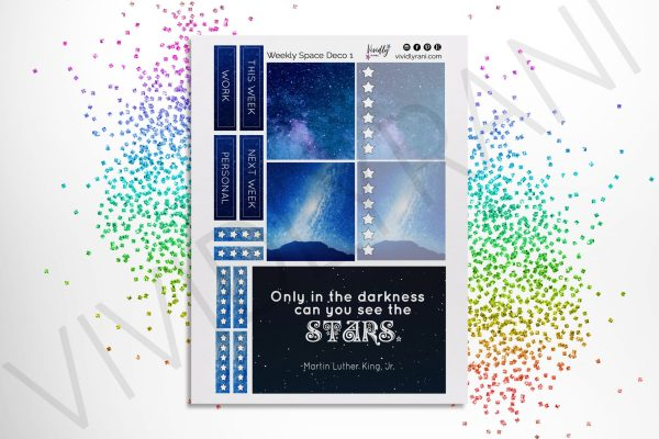 Galaxy Kit   Deco Stickers, Deco Planning Stickers, Space, Stars, Deco Boxes, Passion Planner Weekly Kit, Planner Quotes, Passion Planner