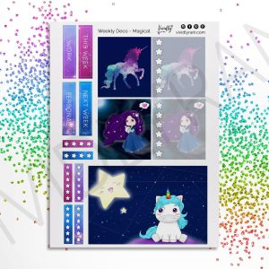 Magical Kit | Deco Stickers, Deco Planning Stickers, Unicorn, Space, Galaxy, Deco Boxes, Passion Planner Weekly Kit, Passion Planner