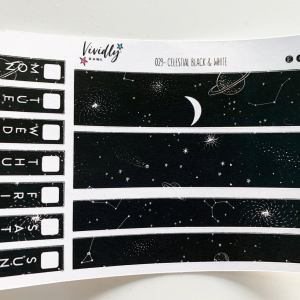MINI KIT | Celestial Black and White Hobonichi Techo Weeks Weekly Kit | Hobonichi, Sticker Kit, Weekly Stickers, Weekly Kit, Cheap Hobo