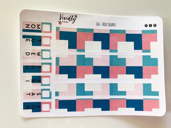 MINI KIT | Square Pattern Bold Colors Hobonichi Techo Weeks Weekly Kit | Hobonichi, Sticker Kit, Weekly Stickers, Weekly Kit, Cheap Hobo