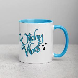 Witchy Mug - Blue and White Mug, Stars, Moon, Witchy Vibes, Witch Mug, Tea Mug, Coffee Mug, Turquoise, Teal, Witchy, Herbal Tea, Coffee Cup