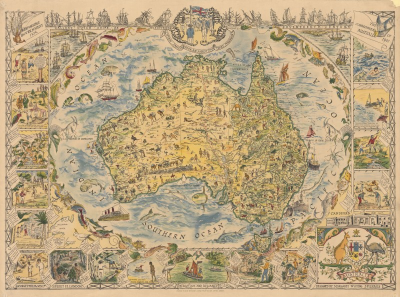 Large Pictorial Map of Australia (1889)