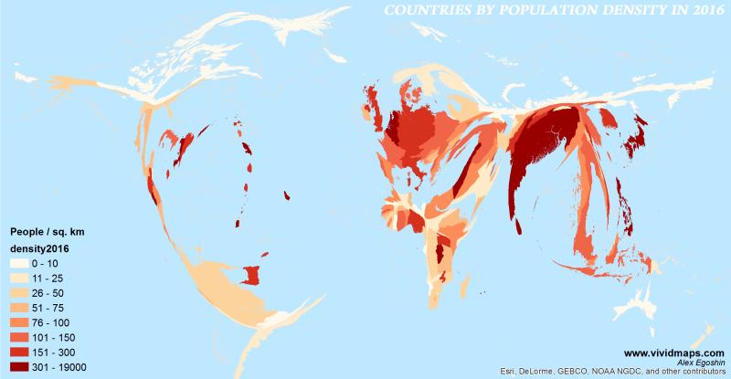 Cartogram of the population density (2016)
