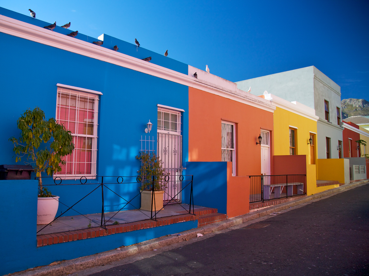 Bright Bo Kaap houses in Cape Town