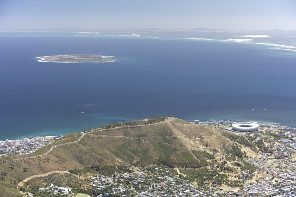Table Mountain view over Cape Town and Signal Hill, with Robben Island in the background