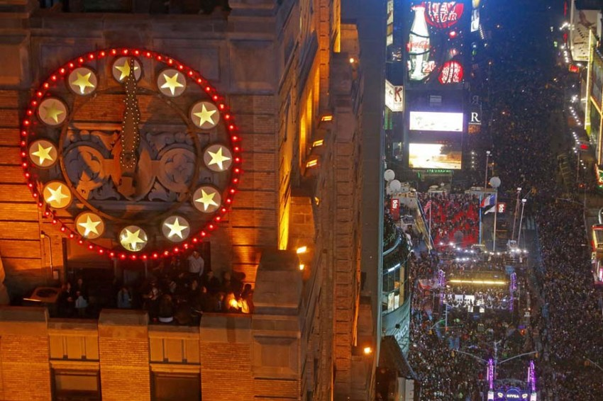 Revelers celebrate the New Year in New York City, on January 1, 2013.