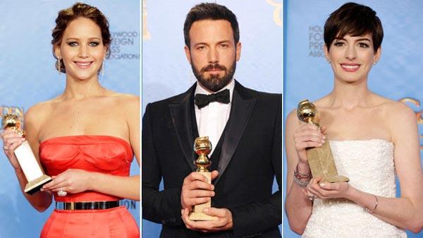 Jennifer Lawrence, Ben Affleck and Anne Hathaway