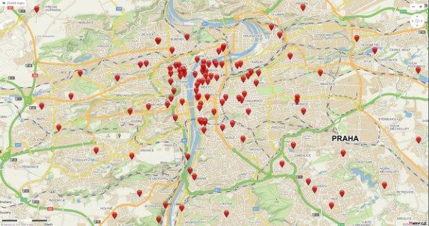 Mapa Praga Noche Iglesias