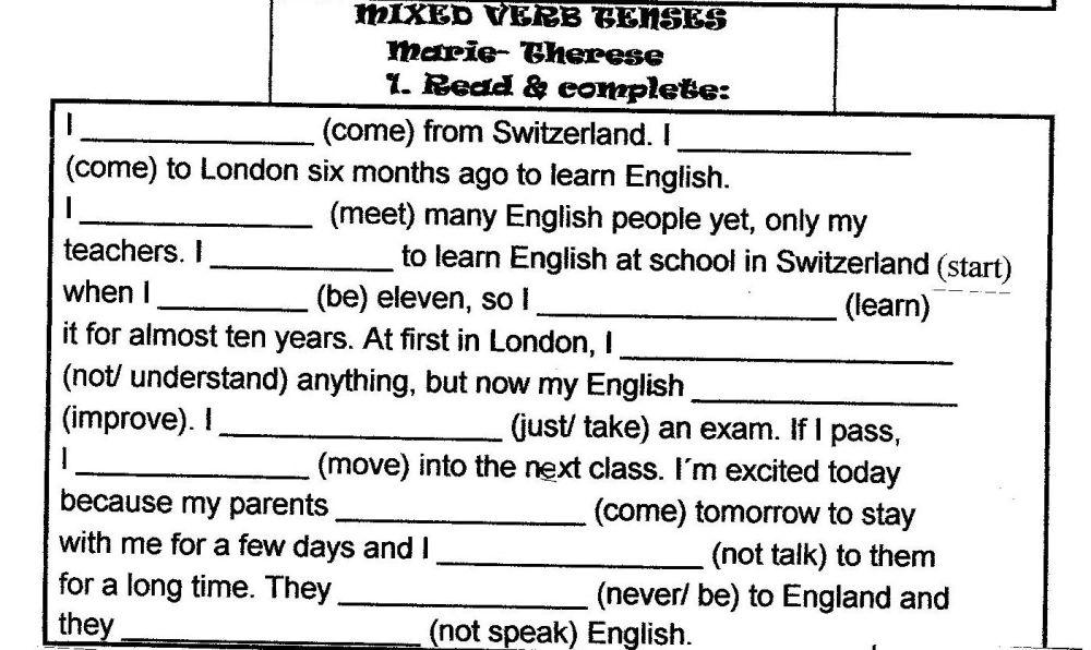 medium resolution of Text verb tense mix   vivienglishteacher