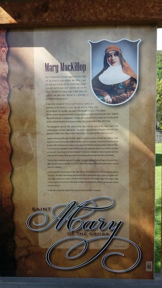 Arrowtown. Mary MacKillop sign at cottage