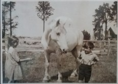 Mum and her brother Arthur feeding a horse