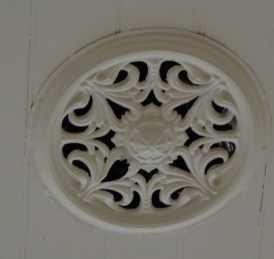 Ceiling ventilation rose in former church