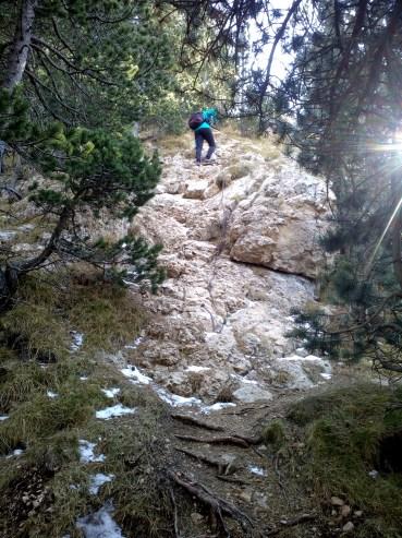 subiendo al roc d'oro con nieve cadena