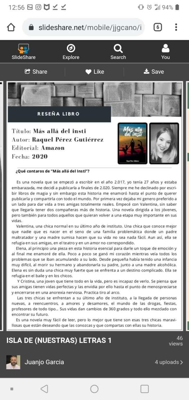 Más allá del insti. Entrevista a Raquel Pérez Gutiérrez. Autora.