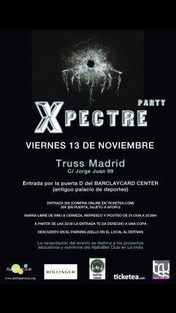 """Fundación Alphabet Club. Fiesta Solidaria """"X""""pectre Party en Truss Madrid"""