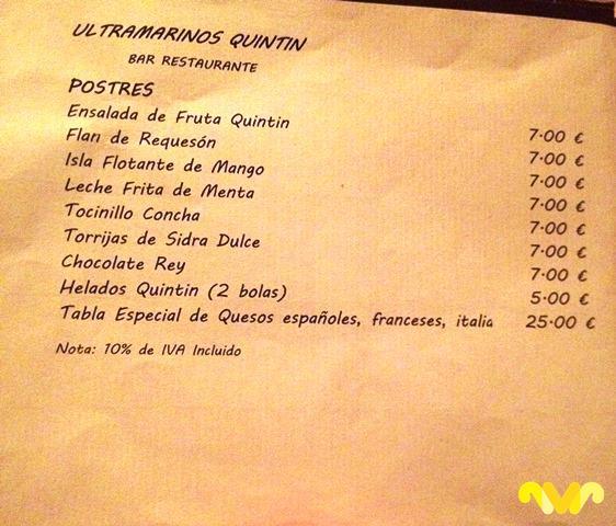 Carta de invierno de los postres de Ultramarinos Quintín, Bar-Restaurante. Madrid