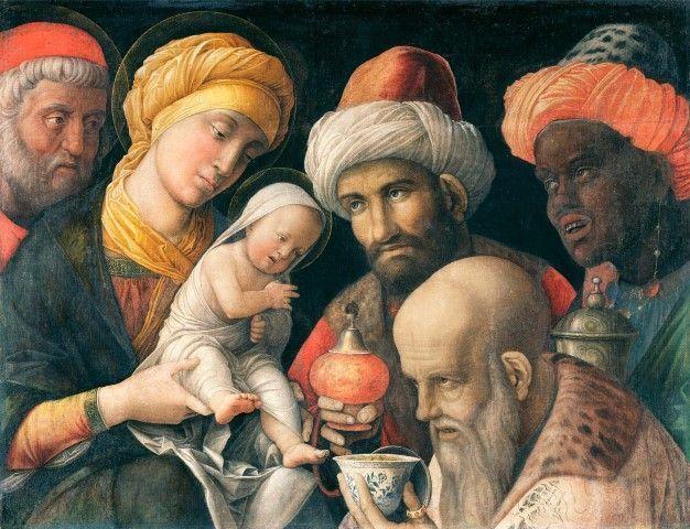 Andrea Mantegna. Adoración de los Reyes Magos. Pintura