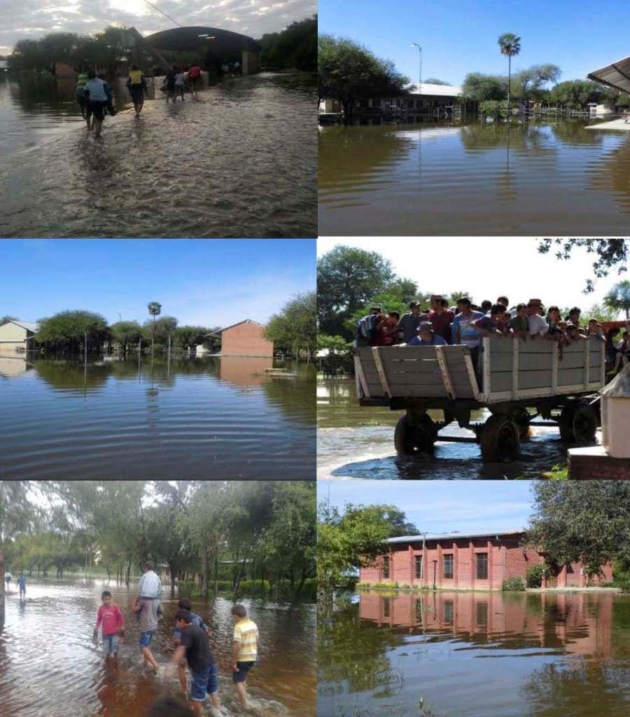 """Niños afectados por las inundaciones en el colegio internado """"San Isidro Labrador"""" de Pozo Colorado, Paraguay"""