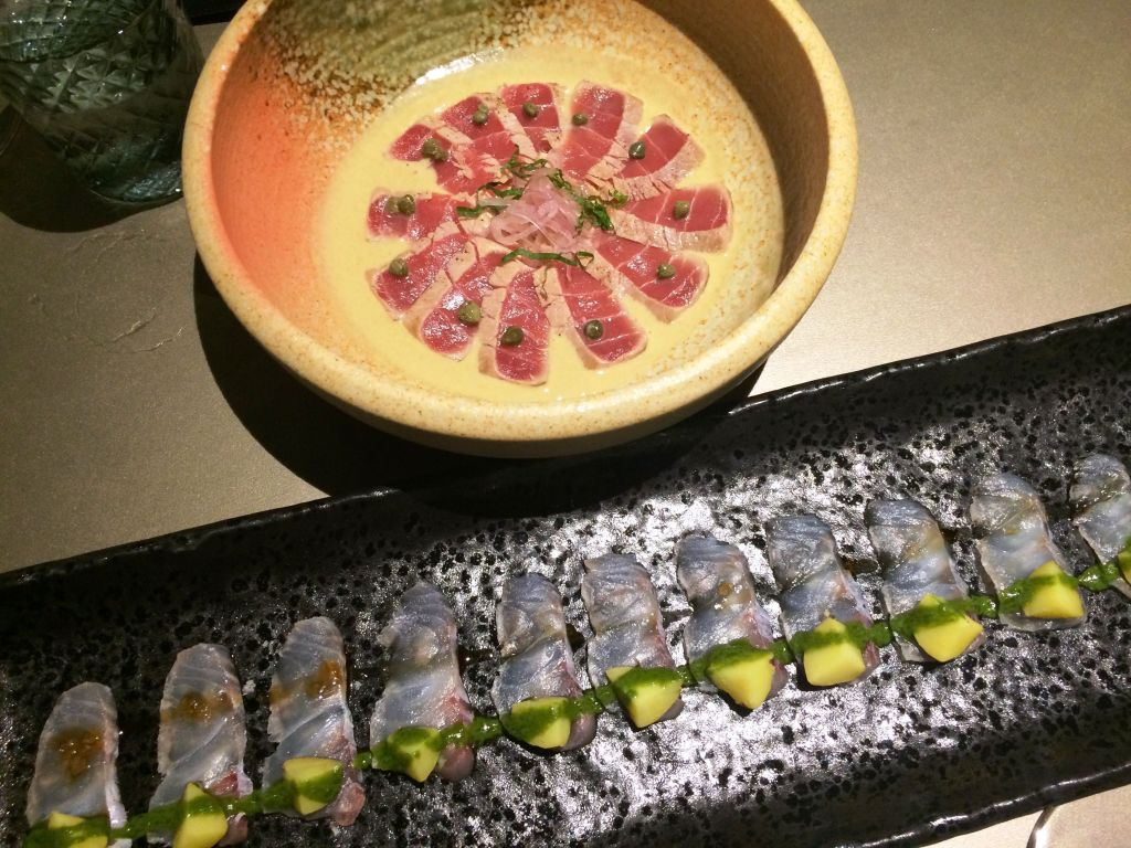 Otsukuri(Sashimi) variados de pescado crudo. Restaurante Abama Kabuki. Tenerife