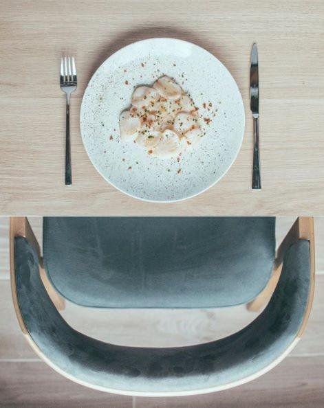 Tiradito de vieras y apionabo. Restaurante Pomerania. Madrid