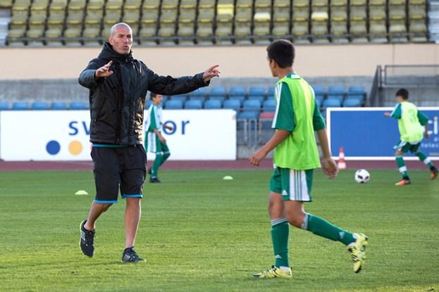 Zinédine Zidane lors de l'entraînement au Stade de la Pontaise de Lausanne. © Oreste Di Cristino