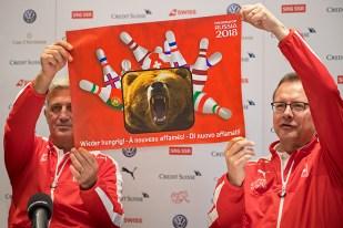Le nouveau « motto » et le symbole du parcours suisse aux European Qualifiers. © Oreste Di Cristino / leMultimedia.info