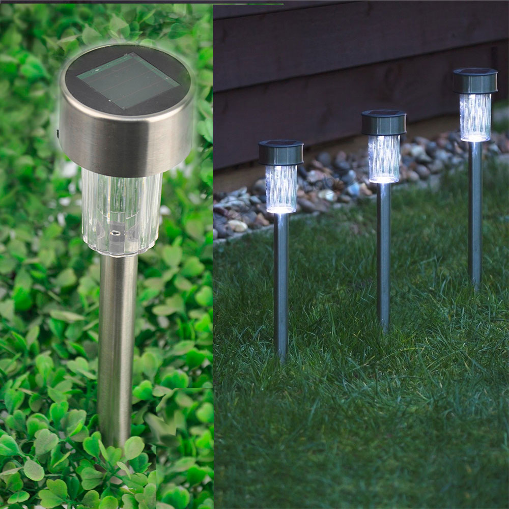 10 X Solar Powered Stainless Steel LED Post Lights Garden