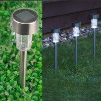 10 X Solar Powered Stainless Steel LED Post Lights Garden ...