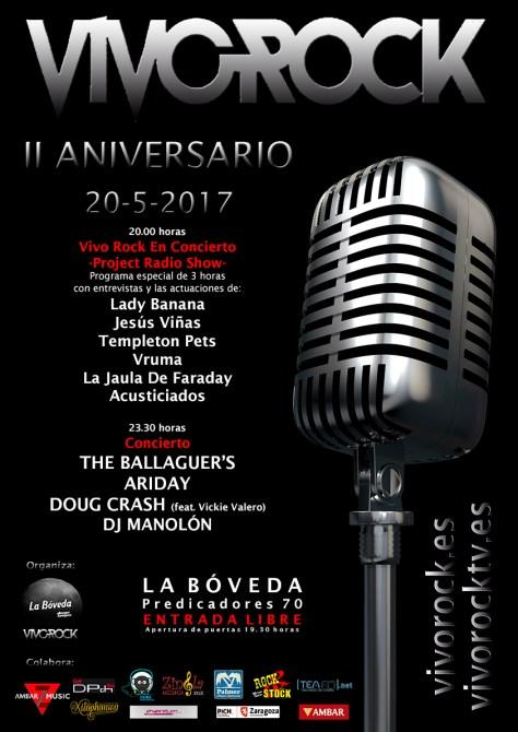 Cartel de la fiesta del II Aniversario de Vivo Rock