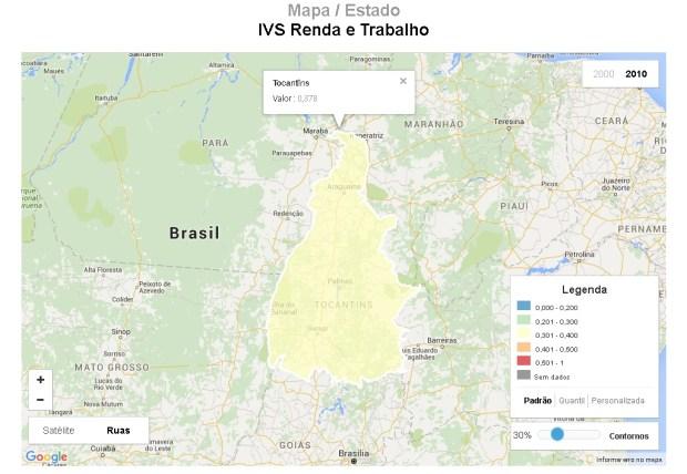 Mapa do Tocantins representando o indicador de Renda e Trabalho.