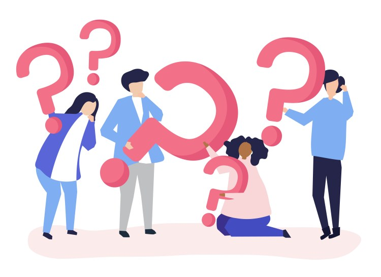 Group of people holding question mark icons