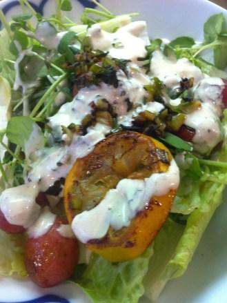 Salade de cresson et citrons grillés