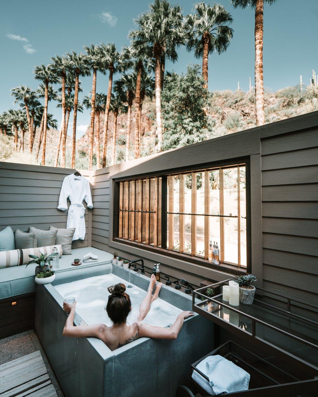 woman in a bath tub