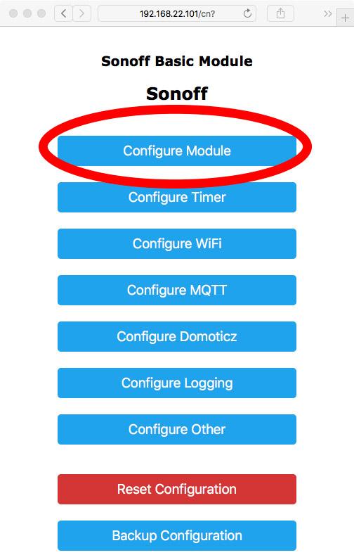 Tasmota Configura Modulo
