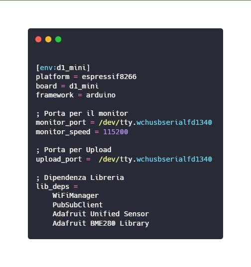 configurazione mediante platformio.ini