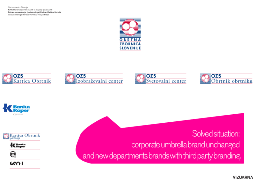 Branding for the Chamber of Craft and Small Business of Slovenia - solution - brand architecture