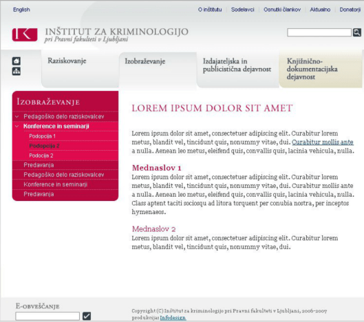Web site templates for the Institute of Criminology at the Faculty of Law - content page