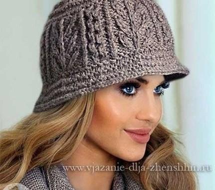 Женская шляпка спицами