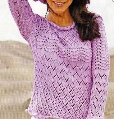 Ажурный пуловер с рюшами спицами