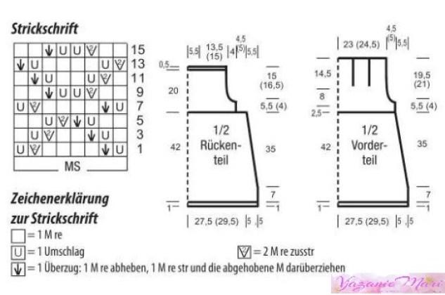 Схема узора и выкройка топа