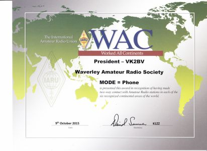 IARU Worked All Continents Award - Phone