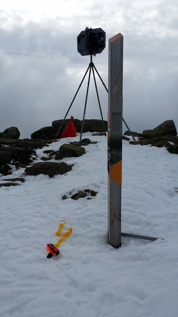 The summit trig point with a convenient post for squid pole attachment