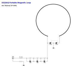 This the circuit diagram of the loop courtesy DG2IAQ. In my loop, there are 4 matching capacitors and switches and the main tuning capacitor is 364pF